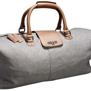 Reiss Aston grey wool & leather holdall duffel bag